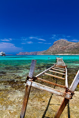 Balos beach. View from Gramvousa Island, Crete in Greece.Magical