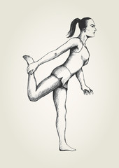 Sketch illustration of a woman stretching her leg