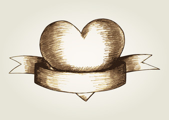 Sketch illustration of a heart emblem