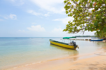 Boat at the beach of Boca del Drago, Panama