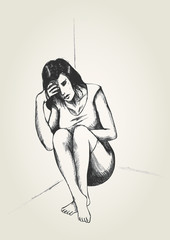 Sketch illustration of a frustrated woman in a corner