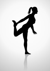 Silhouette illustration of a woman stretching her leg