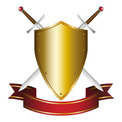 Illustration of a shield and swords emblem