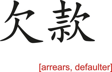 Chinese Sign for arrears, defaulter