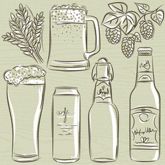 set of beer bottle, vector