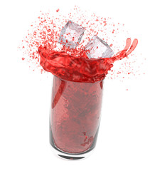 Splashing red drink