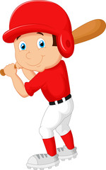 Cartoon boy playing baseball