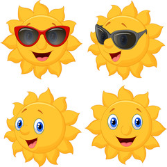 Happy sun cartoon character