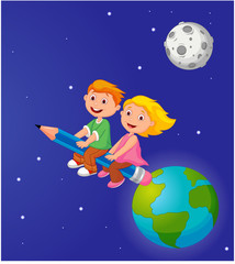 Boy and girl riding a pencil leaving the earth