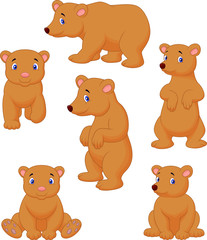 Cute brown bear cartoon collection