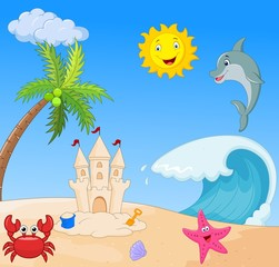 Summer beach cartoon