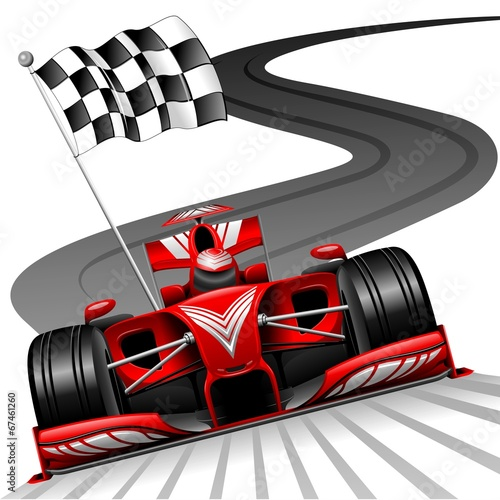 Deurstickers F1 Formula 1 Red Car on Race Track