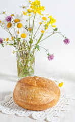 Homemade bread and wildflowers