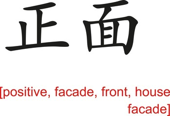 Chinese Sign for positive, facade, front, house facade
