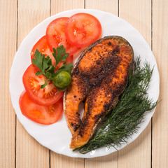 Baked trout steak