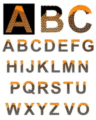 Textured colored alphabet.