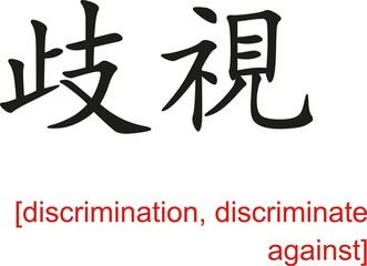 Chinese Sign for discrimination, discriminate against