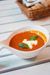 Fresh tomato soup with sour cream