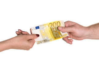 Woman giving 200 euro banknote to a man