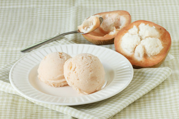 santol sherbet ice cream scoop with fresh santol