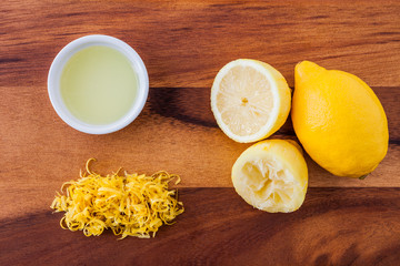 Whole lemon, lemon rind, squeezed lemon, lemon juice