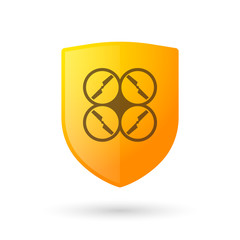 Shield icon with a drone