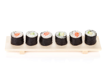 Sushi maki with salmon and cucumber