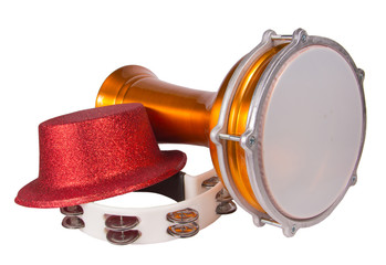 Darbuka, Tambourine and party hat isolated on white background