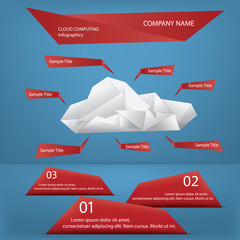 Cloud computing origami infographics concept