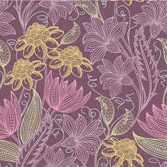 Colorfull seamless floral background