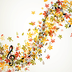 Vector Illustration of an Abstract Music Background with Notes