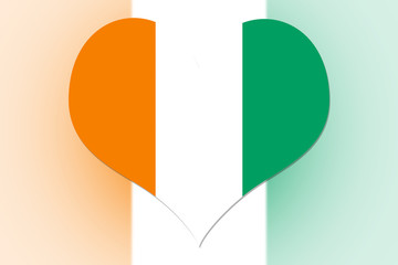 Ivory Coast Flag heart