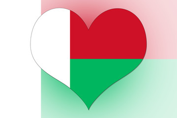 Madagascar Flag heart