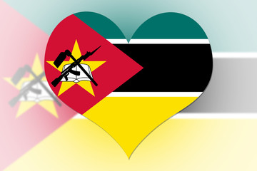 Mozambique Flag heart