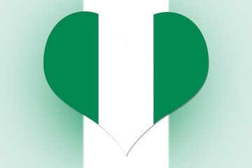 Nigeria Flag heart