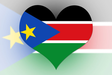 South Sudan Flag heart