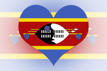 Swaziland Flag heart