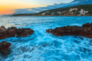 raging sea at sunset