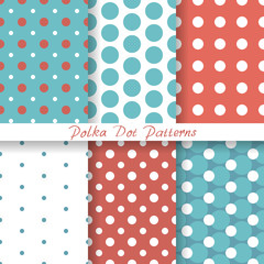 vector set pastel seamless patterns Polka Dot