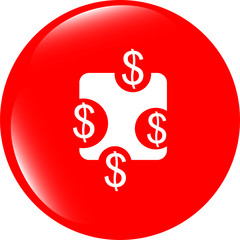 web sign icon. Dollar usd symbol. shiny button. website button