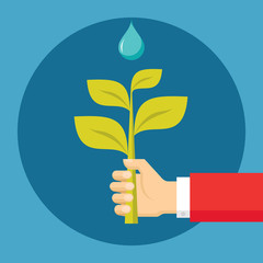 Hand with Sprout - Ecological Illustration in Flat Style