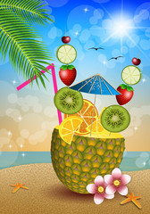 Drink fruits in pineapple