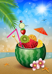 Cocktail fruits in watermelon on the beach