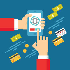 Human Hands - Mobile Payment - Illustration in Flat Style