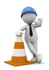 omino bianco che vieta con traffic cone