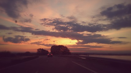Drive and sunset