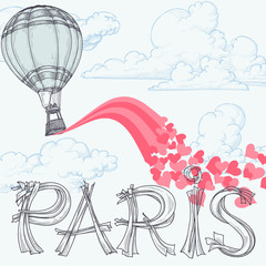 Paris, city of love concept, hot air balloon