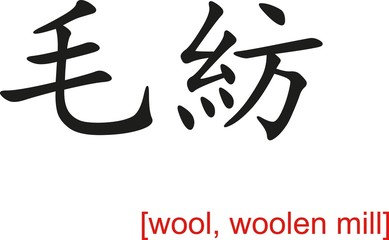 Chinese Sign for wool, woolen mill