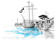 Harbor sketch, boat on shore vector illustration - 67465810