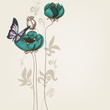 Elegant floral invitation with butterfly